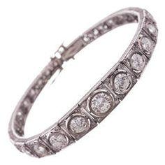Art Deco Graduated Diamond Line Bracelet | From a unique collection of vintage link bracelets at https://www.1stdibs.com/jewelry/bracelets/link-bracelets/