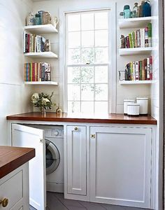This laundry room organized with corner wall shelves.