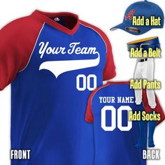 cfb48b4726 3-Color Major Team Custom Baseball Uniform | Custom Jersey with Team,  Player, Numbers | Add Pants, Hat, Belt, Socks for Complete Uniform