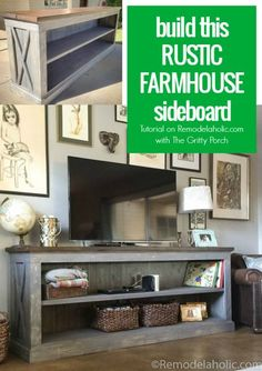 Build this rustic X farmhouse sideboard and TV console with The Gritty Porch and @Remodelaholic. Detailed photo tutorial plus building plans means you can build this in a weekend!