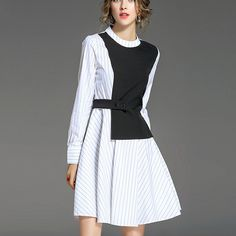 NEW FAKE TWO PIECE WHITE CASUAL STRIPED DRESS Old: $81.53 Now: $49.92