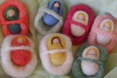 3 needle felted babies in baskets - Donated by Soft Heart