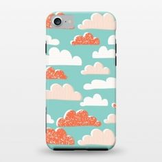 Clouds pattern phone case for iPhone 7 by Sarah Price Designs and sold through ArtsCase.com  light bright and whimsical