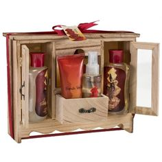 French Vanilla Spa Bath Gift Set in Natural Wood Curio,shower Gel,bubble Bath, Bath Salt,body Lotion,body Spray Freida Joe