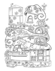 Nice Little Town 4 (Adult Coloring Book, Coloring pages PDF, Coloring Pages Printable, For Stress Relieving, For Relaxation) Printable Adult Coloring Pages, Cute Coloring Pages, Coloring Pages For Kids, Coloring Sheets, Coloring Books, Mandala Coloring, Prints, Barn, Nice