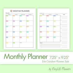 MONTHLY INSERTS PDF for your Erin Condren Life by EasyLifePlanners  #Erin #Condren #lifeplanner #eclp #inserts #refills #mo2p #monthly #planner #printable
