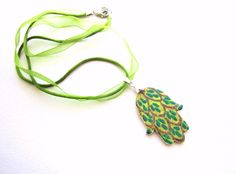 Hamsa Necklace Handpainted Wood pendant necklace by GattyGatty, $10.50