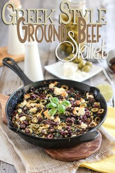 Ground Beef, Kale, Olives and Goat Feta Cheese combined in one extremely tasty, nutritious and satisfying single skillet dish. Dinner With Ground Beef, Mediterranean Diet Recipes, Grass Fed Beef, Paleo Recipes, Greek Recipes, Yummy Recipes, Dinner Recipes, Ground Beef Recipes, Skillet