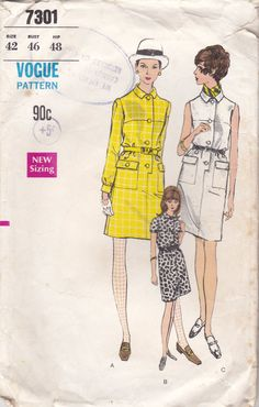 1960s Vogue Sewing Pattern for Womens One piece by jennylouvintage