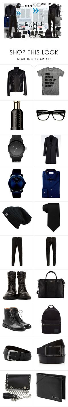 It's a man's world by bella0678 on Polyvore featuring ETON, Givenchy, Yves Saint Laurent, Emporio Armani, Richmond Denim, Maison Margiela, Movado, Diesel, PS Paul Smith and M&F Western