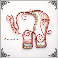 ☮ American Hippie Bohemian Boho Style ~ Jewelry .. Copper Twisted Wire Beaded Elephant Necklace