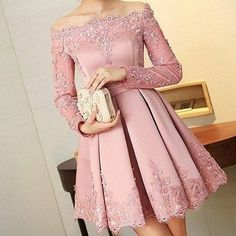 Prom Dress For Teens, 2019 Boat Neck Long Sleeves A Line Homecoming Dresses Satin With Applique, cheap prom dresses, beautiful dresses for prom. Best prom gowns online to make you the spotlight for special occasions. Dresses Elegant, Pretty Dresses, Beautiful Dresses, Formal Dresses, Prom Formal, Casual Dresses, Junior Bridesmaid Dresses, Homecoming Dresses, Wedding Dress Black