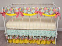 Aphrodite's Garden Bumperless Aqua, Coral, Gray, and Yellow Baby Girl Crib / Cot Bedding with Crib Rail Guard / Rail Cover