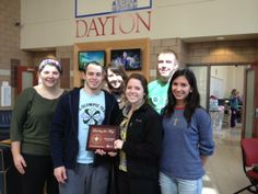 Way to go Flyers!!! University of Dayton students accepted the Platinum LifeSaving Ambassador Club award for 2013 from CBC's Donna Teuscherat at today's campus blood drive. UD sponsors 12 blood drives on campus each school year. Awesome!