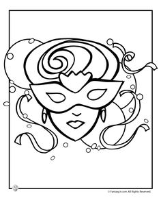 Mardi Gras Coloring Pages Mask Page Fantasy Jr