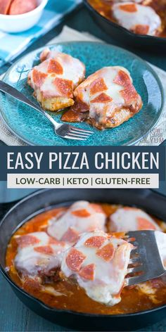 An easy low carb pizza chicken skillet recipe that's so simple to prepare. Just brown boneless skinless chicken meat and smother with pizza toppings. | LowCarbYum.com Healthy Low Carb Recipes, Fun Easy Recipes, Low Carb Dinner Recipes, Keto Recipes, Easy Meals, Keto Foods, Cheese Recipes, Pizza Recipes, Low Carb Pizza