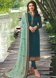 Riya Elegant Designer Embroidery Suits & Dress Materials `*TOP* :Satin Georgette + Embroidery ( Size - Up To 42 in ) *Inner* : Santoon:. Pakistani Dresses, Indian Dresses, Indian Outfits, Indian Clothes, Desi Clothes, Indian Designer Suits, Designer Salwar Suits, Designer Dresses, Churidar Suits