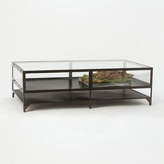 """Curio Coffee Table $1300   Harkening back to 17th and 18th-century statement pieces, this iron and glass coffee table offers a cabinet top for displaying collections, curiosities, and specimens. Alternately, it can be planted as a terrarium.  - Iron, glass, matte black finish - Wipe clean with damp cloth - Display case: 8.5""""H, 30""""D  - Shelf: 4.5""""H, 30""""D - Indoor use only  - Imported  16""""H, 54""""W, 30""""L"""