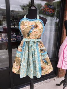 Gorgeous Peacocks Panel Apron (406) by MothersApronString on Etsy