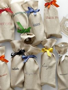 personalized linen wine bags. love these for gifts or favors!