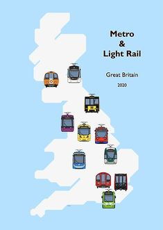 Each of the 11 metro/light rail systems currently operating in Britain, displayed on a geographic representation of the country Train Drawing, Light Rail, Great Britain, Transportation, Finding Yourself, My Arts, Artists, Country, Unique