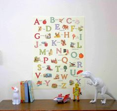 This lovely children's print features the English alphabet with vintage illustrations. Wonderful to frame as art in a nursery or child's room or use as gift wrap. Printed on Italian acid free paper. 50 x 70cm {Please note that computer monitors can shift colors and what you see on your screen might be a bit different color from the print you receive}