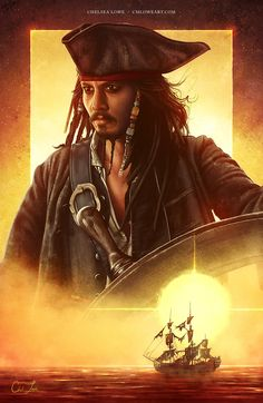 "cmloweart: """"""Now… bring me that horizon."" - Captain Jack Sparrow, Pirates of the Caribbean: The Curse of the Black Pearl "" Wishing a very Happy Birthday to my favorite actor, Johnny Depp. ❤️ To celebrate, here's my Captain Jack digital painting that..."