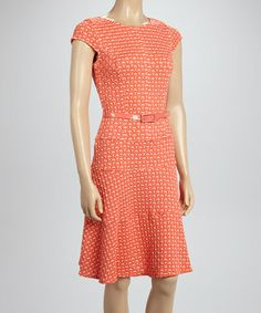 Sandra Darren and Sharagano - Loving this Coral Belted A-Line Dress on #zulily! #zulilyfinds