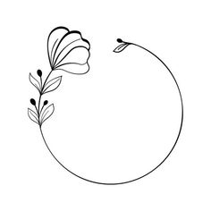 Hand Embroidery Patterns, Embroidery Designs, Floral Embroidery, Floral Drawing, Simple Flower Drawing, Flower Frame, Flower Circle, Wreath Drawing, Bullet Journal Writing