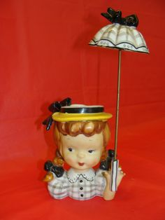 "GIRL WITH PARASOL HEAD VASE 1950'S MADE IN JAPAN ""N"" MARK"