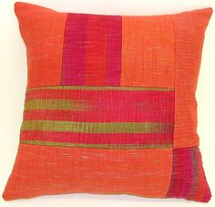 Orange Patchwork Pillow by Anne Bossert: Silk & Linen Pillow available at www.artfulhome.com