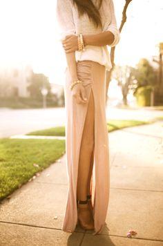Side split pastel skirt