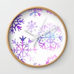 Purple Watercolor Snowflake Wall Clock by Samantha Lynn. Worldwide shipping available at Society6.com. Just one of millions of high quality products available.