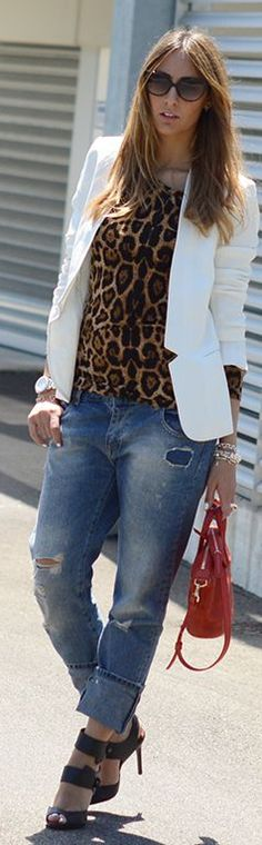 Sheinside Brown Leopard Print Blouse