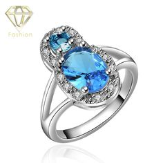 >> Click to Buy << New Design Peanut Shaped Inlaid Zirconia & Blue Crystal White Gold Color Charm Wedding Rings Fashion Jewelry for Women #Affiliate
