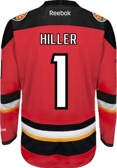 Calgary Flames Goalie Jonas HILLER #1 Official Third Reebok Premier Replica NHL Hockey Jersey (HAND SEWN CUSTOMIZATION)