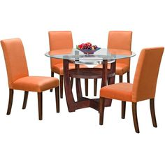 Alcove Orange 5-PC Dinette ($500) ❤ liked on Polyvore featuring home, furniture, tables, dining tables, dining, chair, dinette table set, dinette furniture, dinette table and 5 piece table set