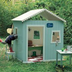 Cabane pour enfant en bois avec toit qui se plie pour se ranger