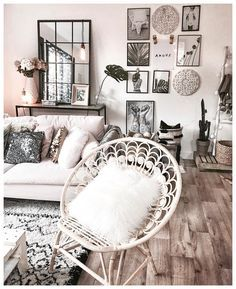 Ideal for apartment living beautiful, clean, boho living room. Ideal for apartment living Living Room Inspiration, Home Decor Inspiration, Living Room Decor, Bedroom Decor, Bedroom Ideas, Living Room Artwork, Living Room Mirrors, Decor Room, Living Rooms
