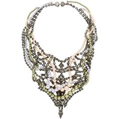 Tom Binns Regal Rocker Crystal & Pearl Collar Necklace ($799) ❤ liked on Polyvore featuring jewelry, necklaces, black, black jewelry, rocker jewelry, tom binns necklace, long necklace y tom binns jewelry