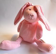 Pink Striped Bunny. Go Pink, Cute Pink, Pretty In Pink, I Believe In Pink, Pink Kids, Everything Pink, Happy Girls, Pink Stripes, Little Gifts