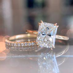 Western Wedding Rings, Wedding Rings Vintage, Wedding Bands, Radiant Cut Engagement Rings, Dream Engagement Rings, Radiant Cut Diamond, Diamond Cuts, Traditional Engagement Rings, Dream Ring