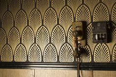 Art Deco wall coverings in dramatic black and metallics Hotel Lobby, Prohibition Bar, Art Nouveau, Motif Art Deco, Beyond The Sea, Boardwalk Empire, Decoration Inspiration, This Is A Book, Murder Mysteries
