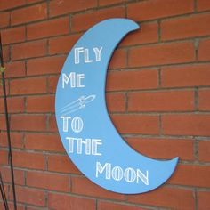 Moon, Fly Me To the Moon, Dance by the Light of the Moon, Crescent Moon, Kitsch Hanging Moon by MacalusoSigns on Etsy