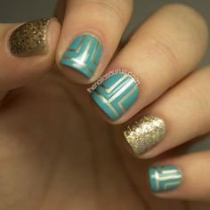 We love this teal and gold combo created by Sammy from The Nailasaurus. #Nails #NailArt