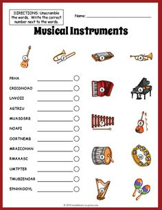 Musical Instruments Vocabulary Worksheet - Different and beautiful ideas Cursive Writing Worksheets, Music Worksheets, Vocabulary Worksheets, Worksheets For Kids, Music Word Search, Reading Sheet Music, Music Lessons For Kids, Reading Comprehension Worksheets, Phonics Reading