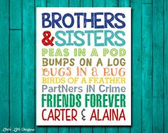 Brothers & Sisters. Sibling Wall Art. Kids Room Decor. Bro and Sis Sign. Nursery Decor. Twins. Brother and Sister Decor. Friends Forever. on Etsy, $8.00