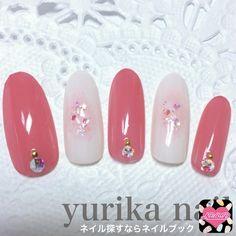 ネイル 画像 yurika nail 1444637 ピンク 白 チーク ビジュー オフィス デート パーティー 春 夏 卒業式 入学式 ソフトジェル ハンド ロング