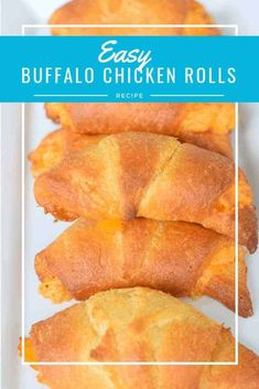 This simple buffalo chicken rolls recipe is a perfect appetizer. You can make it ahead of time, and it's plenty to share. This is a great potluck dish for a football party. Best Appetizer Recipes, Best Appetizers, Easy Dinner Recipes, Snack Recipes, Easy Meals, Dessert Recipes, Party Recipes, Simple Recipes, Easy Snacks