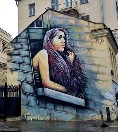 v/@StreetArtEyes1  by Alice Pasquini - New mural - for Novate Art - Moscow, Russia - september 2014 #streetart